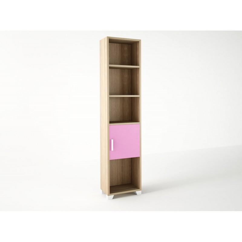 Βιβλιοθήκη παιδική σε χρώμα δρυς-ροζ 40x30x180