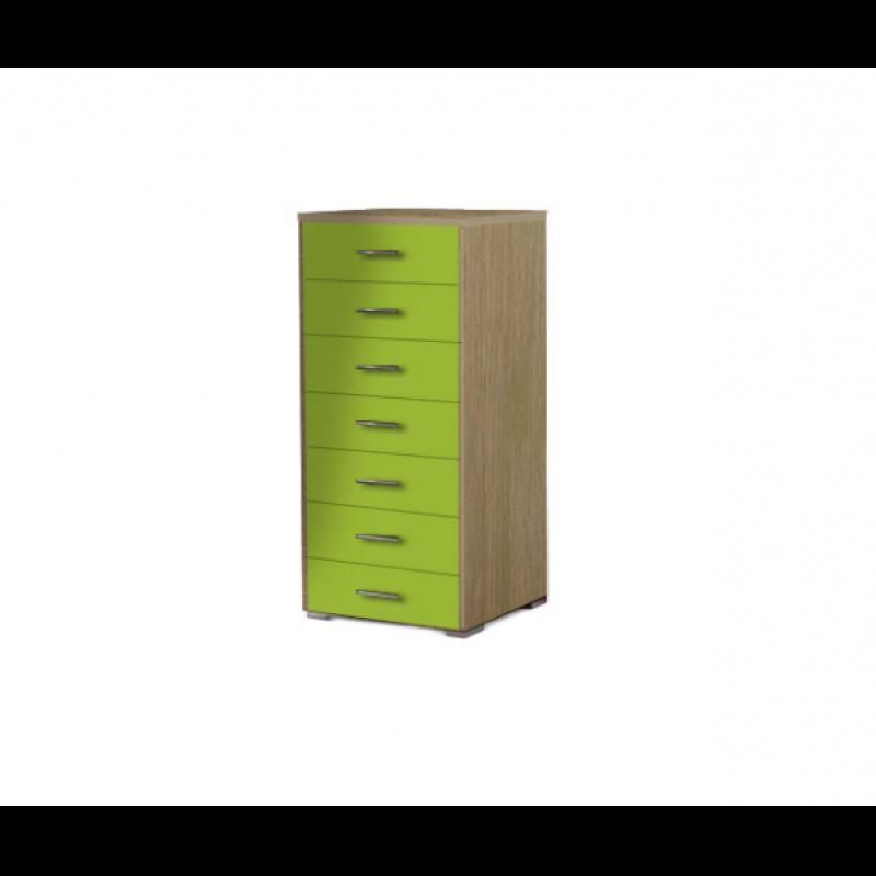 Συρταριέρα με 7 συρτάρια σε χρώμα δρυς-λαχανί 60x45x123