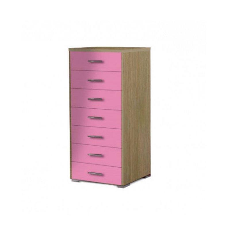 Συρταριέρα με 7 συρτάρια σε χρώμα δρυς-ροζ 60x45x123