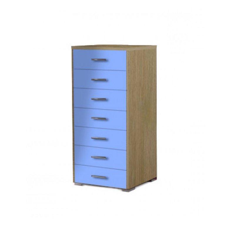 Συρταριέρα με 7 συρτάρια σε χρώμα δρυς-σιελ 60x45x123
