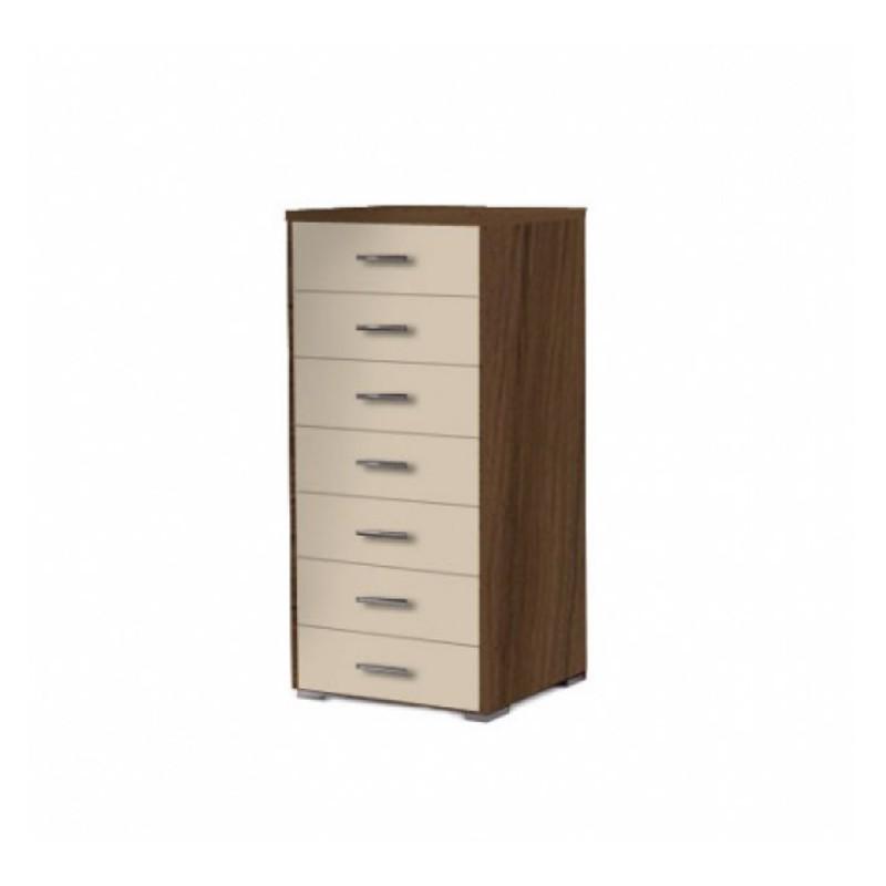 Συρταριέρα με 7 συρτάρια σε χρώμα εκρου-καρυδί 60x45x123