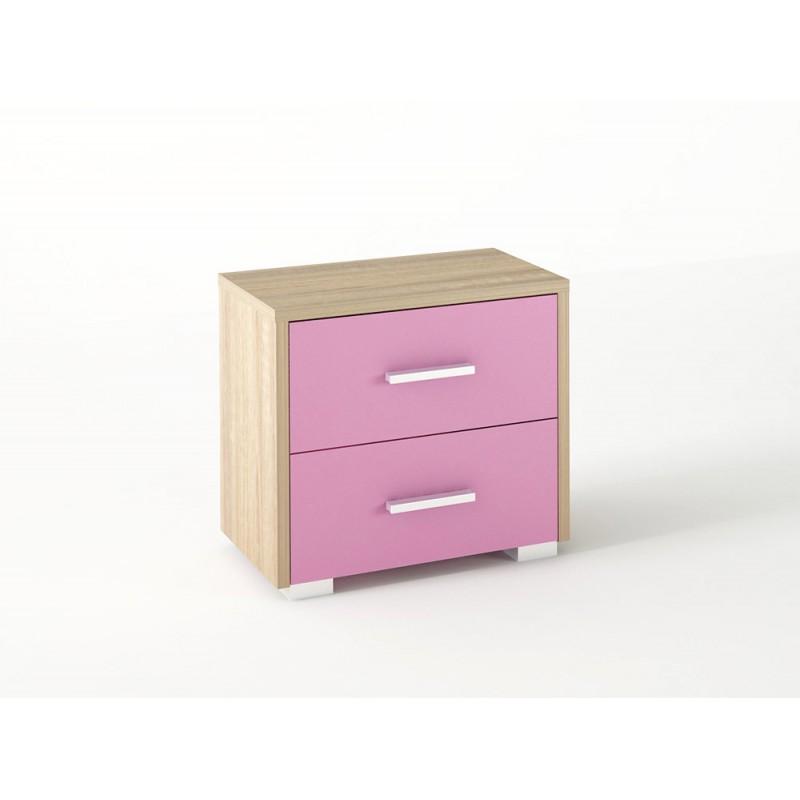Κομοδίνο παιδικό με 2 συρτάρια σε χρώμα δρυς-ροζ 50x34x48