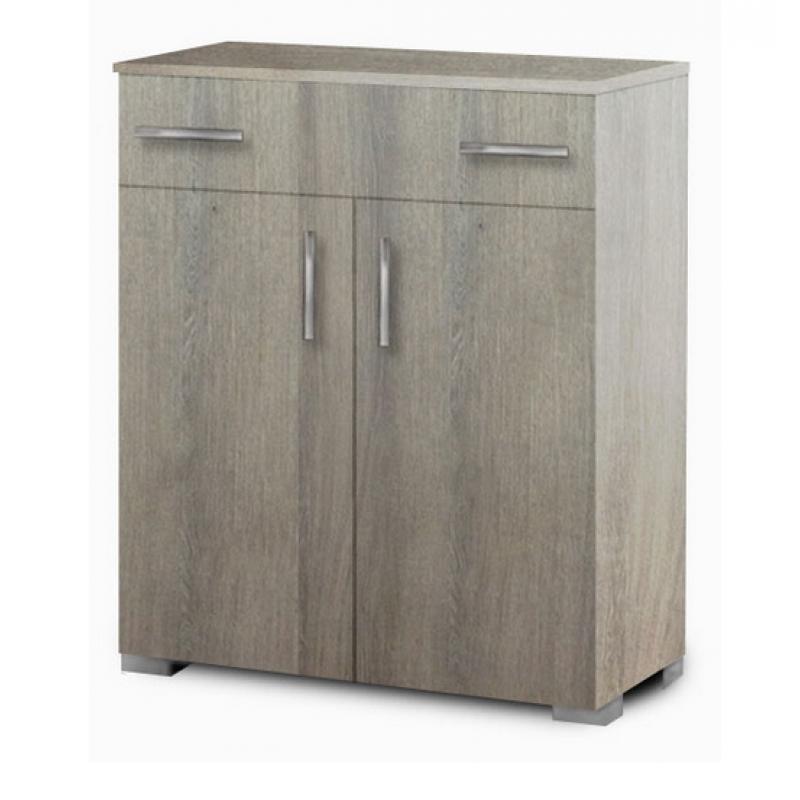 Παπουτσοθήκη με ένα συρτάρι και ράφια σε χρώμα σταχτί 75x33x92