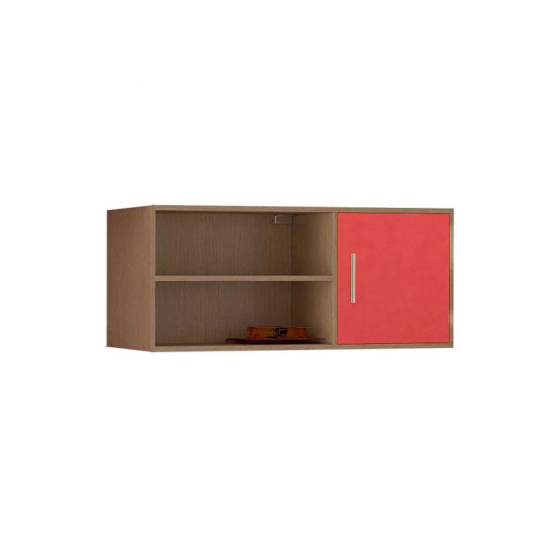 Βιβλιοθήκη τοίχου κρεμαστή σε χρώμα δρυς-πορτοκαλί 100x30x43