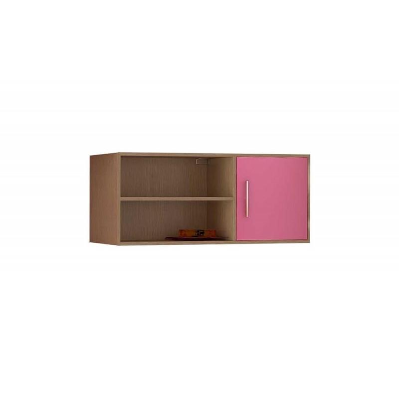 Βιβλιοθήκη τοίχου κρεμαστή σε χρώμα δρυς-ροζ 100x30x43