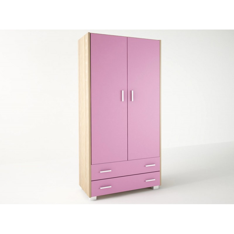 Ντουλάπα παιδική δίφυλλη σε χρώμα δρυς-ροζ 105x50x180
