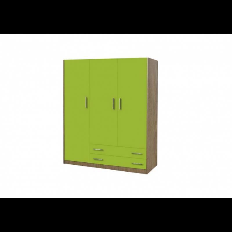 Ντουλάπα παιδική τρίφυλλη χρώματος δρυς-λαχανί 110x50x180
