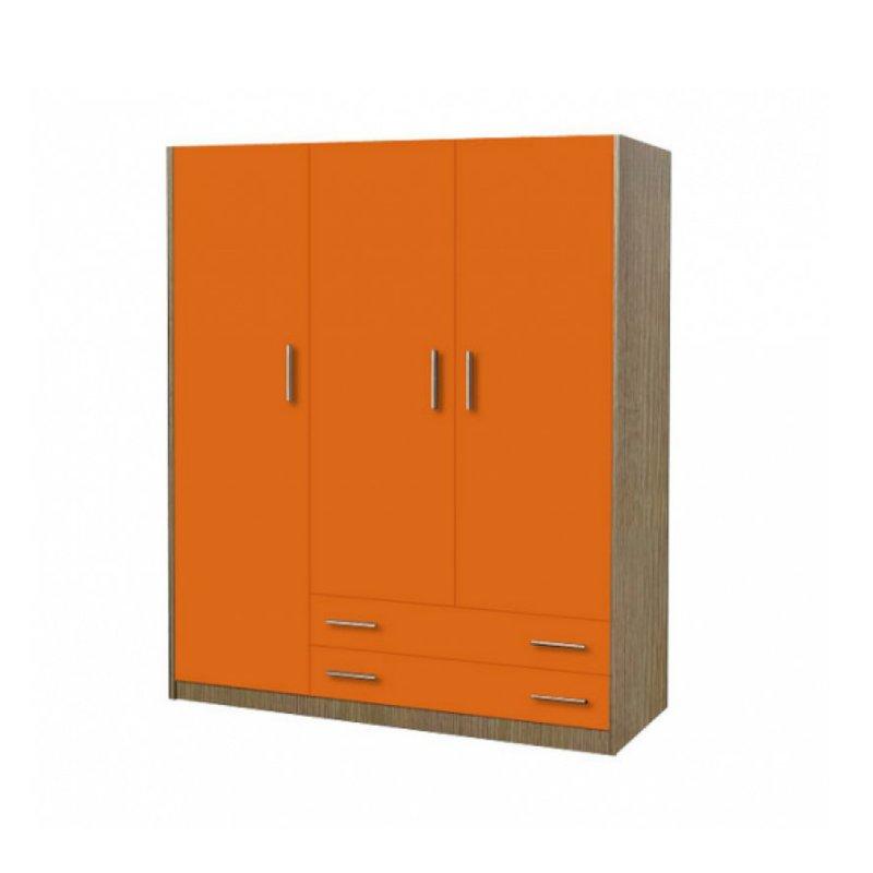 Ντουλάπα παιδική τρίφυλλη χρώματος δρυς-πορτοκαλί 110x50x180