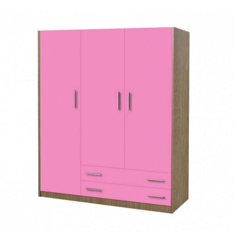 Ντουλάπα παιδική τρίφυλλη χρώματος δρυς-ροζ 110x50x180