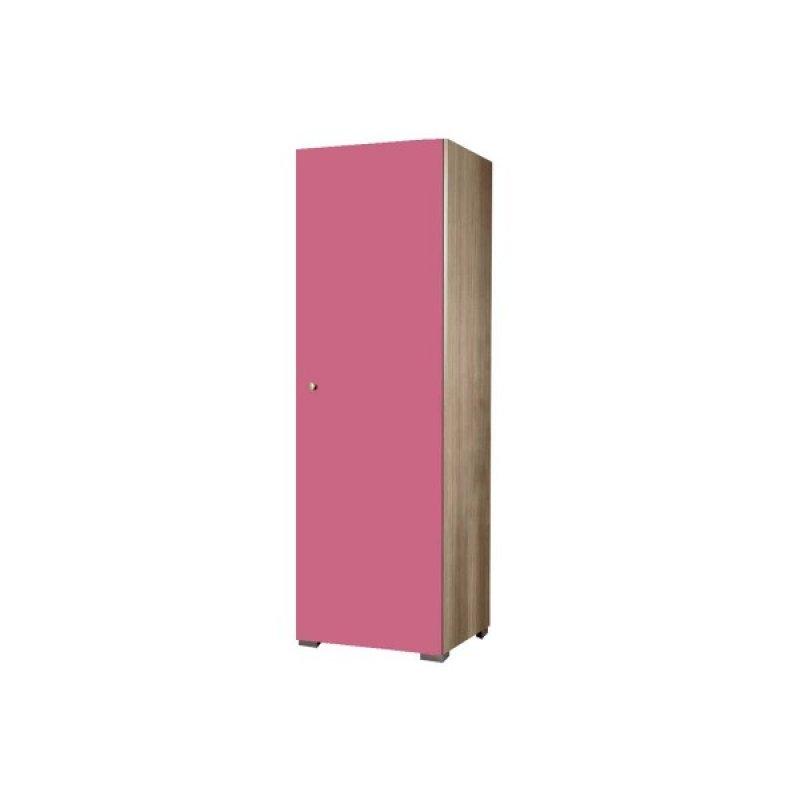 Ντουλάπα παιδική μονόφυλλη σε χρώμα δρυς-ροζ 48x50x180