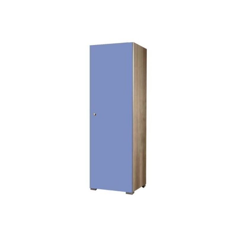 Ντουλάπα παιδική μονόφυλλη σε χρώμα δρυς-σιελ 48x50x180