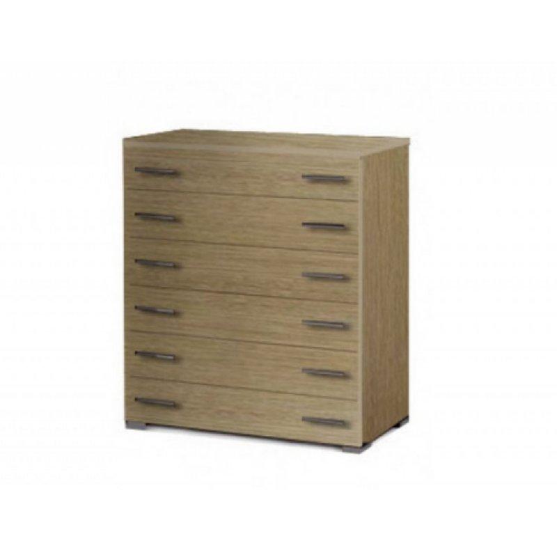 Συρταριέρα με 6 συρτάρια σε χρώμα καστανιά 90x45x108