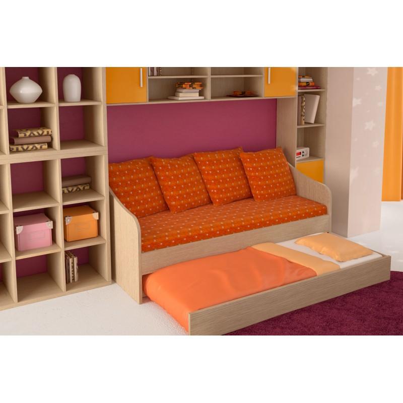 """Κρεβάτι-καναπές """"SILKY"""" με συρρόμενο κρεβάτι σε χρώμα δρυς 190x80"""
