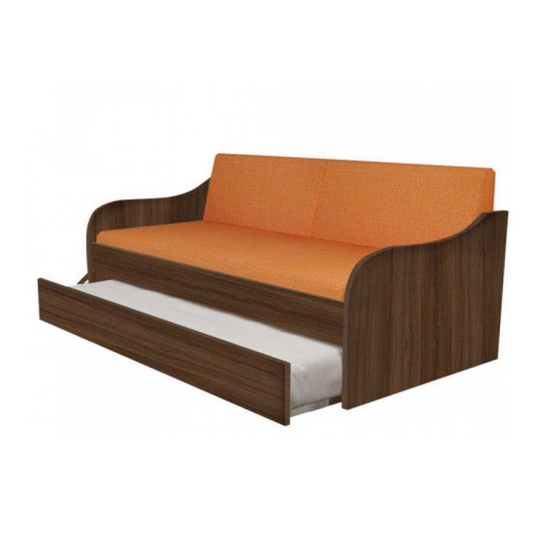 """Κρεβάτι-καναπές """"SILKY"""" με συρρόμενο κρεβάτι σε χρώμα καρυδί 190x80"""