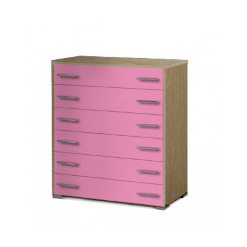 Συρταριέρα παιδική με 6 συρτάρια σε χρώμα δρυς-ροζ 90x45x1,08