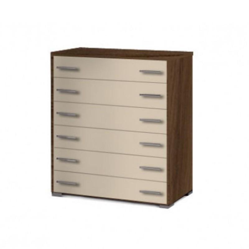 Συρταριέρα παιδική με 6 συρτάρια σε χρώμα εκρού-καρυδί 90x45x1,08