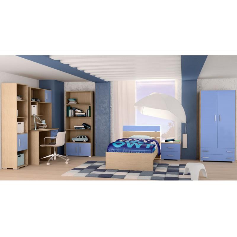 """Παιδικό δωμάτιο """"NOTA"""" σετ 7 τμχ σε χρώμα δρυς-μπλε"""
