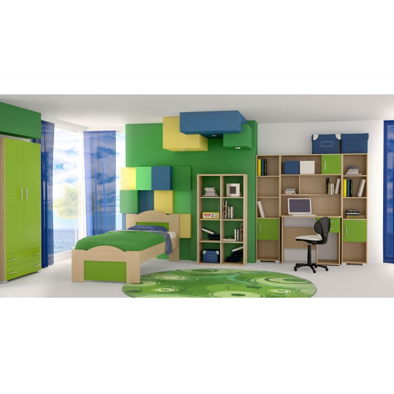 """Παιδικό δωμάτιο """"ΚΥΜΑ"""" σετ 7 τμχ σε χρώμα δρυς-λαχανί"""
