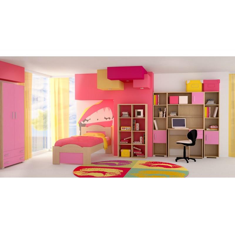 """Παιδικό δωμάτιο """"ΚΥΜΑ"""" σετ 7 τμχ σε χρώμα δρυς-ροζ"""