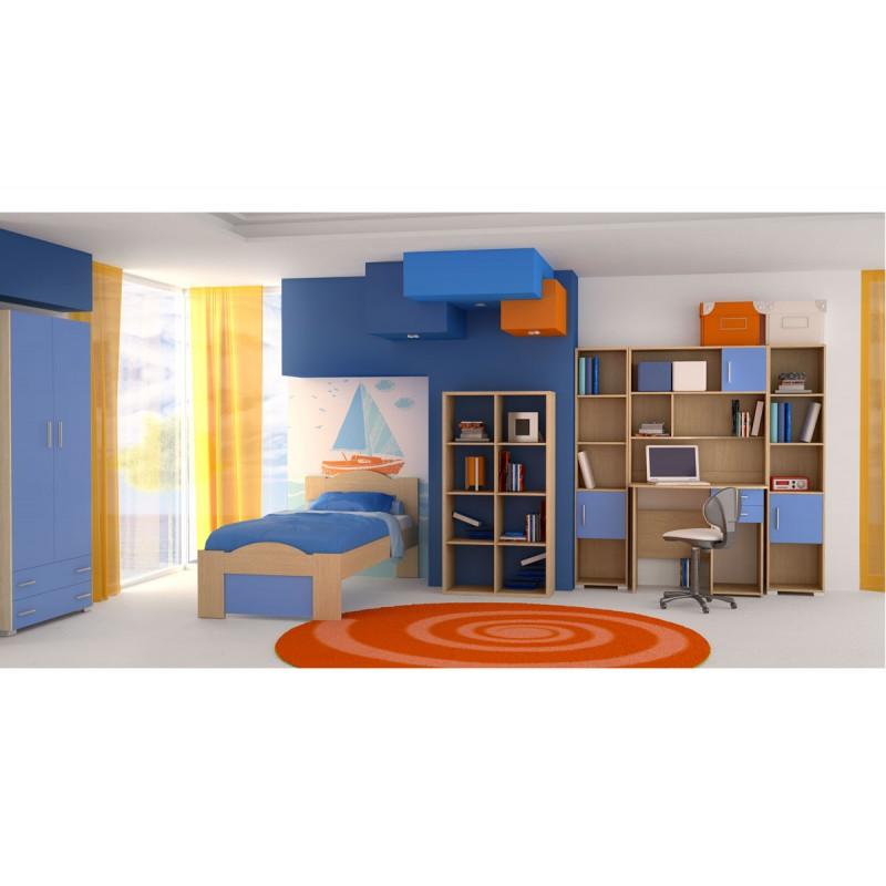 """Παιδικό δωμάτιο """"ΚΥΜΑ"""" σετ 7 τμχ σε χρώμα δρυς-μπλε"""