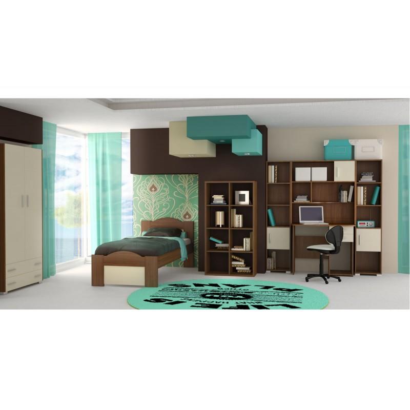"""Παιδικό δωμάτιο """"ΚΥΜΑ"""" σετ 8 τμχ σε χρώμα εκρού-καρυδί"""