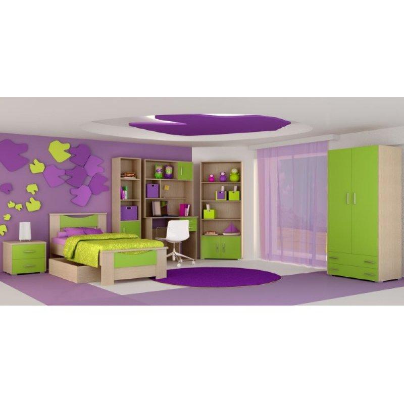 """Παιδικό δωμάτιο """"ΧΑΜΟΓΕΛΟ"""" σετ 9 τμχ σε χρώμα δρυς-λαχανί"""