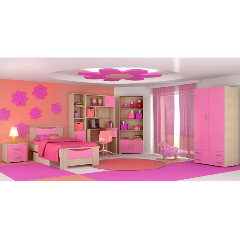 """Παιδικό δωμάτιο """"ΧΑΜΟΓΕΛΟ"""" σετ 8 τμχ σε χρώμα δρυς-ροζ"""