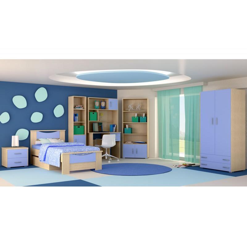 """Παιδικό δωμάτιο """"ΧΑΜΟΓΕΛΟ"""" σετ 8 τμχ σε χρώμα δρυς-μπλε"""