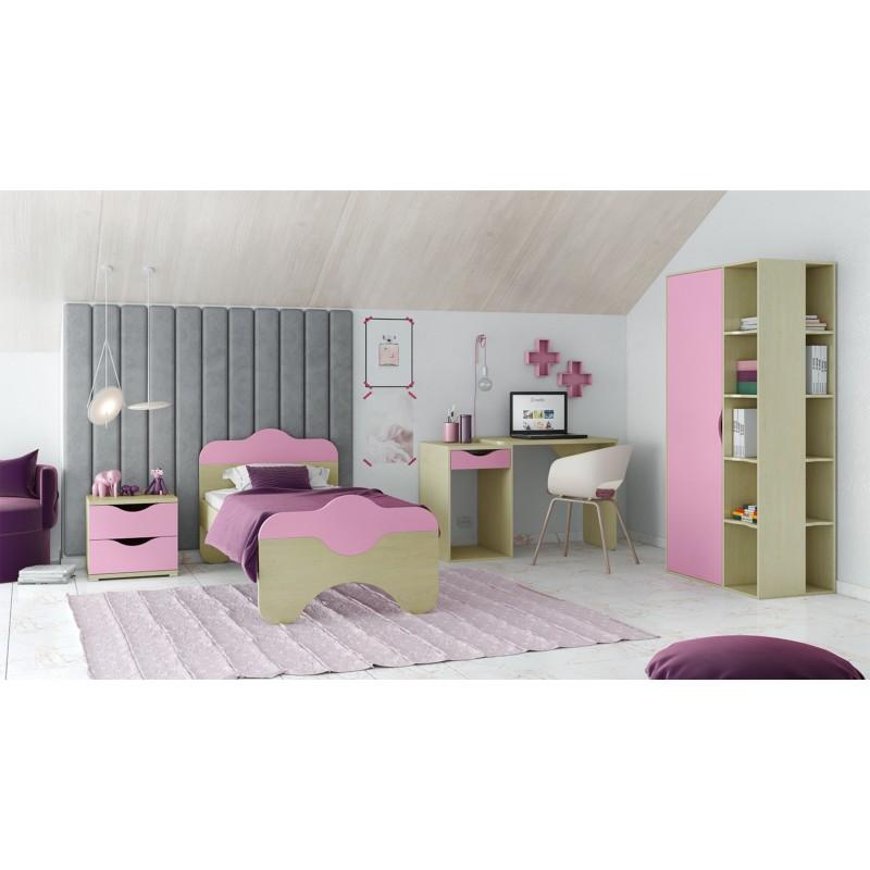 """Παιδικό δωμάτιο """"ΠΑΖ"""" σετ 4 τμχ. σε χρώμα δρυς-ροζ"""