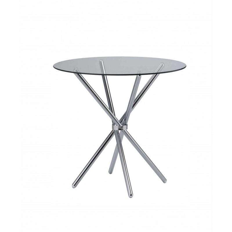 Τραπέζι μεταλλικό στρόγγυλο με γυάλινη επιφάνεια Ø80x73