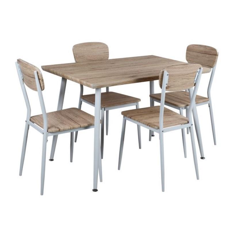 Σετ τραπεζαρίας 5τμχ από ξύλο/μέταλλο σε χρώμα λευκό/σονομα 110x70x76