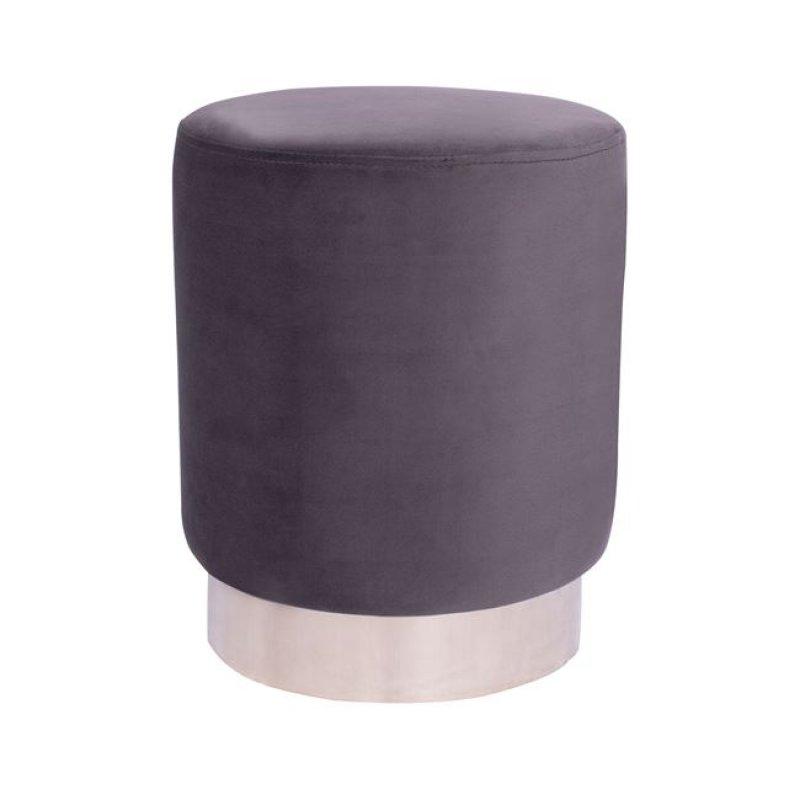 """Σκαμπώ """"LEVY """" βελούδινο σε γκρι χρώμα με ασημί βάση Φ35x43"""