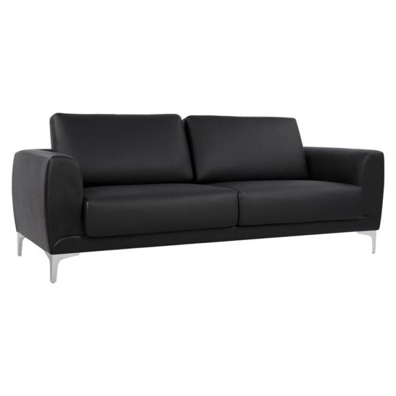 """Καναπές """"KENZIE"""" τριθέσιος από τεχνόδερμα σε μαύρο χρώμα 190x81x81"""