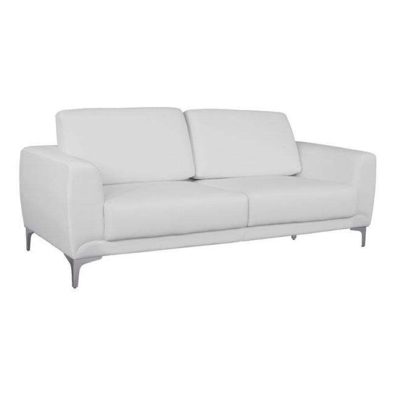 """Καναπές """"KENZIE"""" τριθέσιος από τεχνόδερμα σε λευκό χρώμα 190x81x81"""