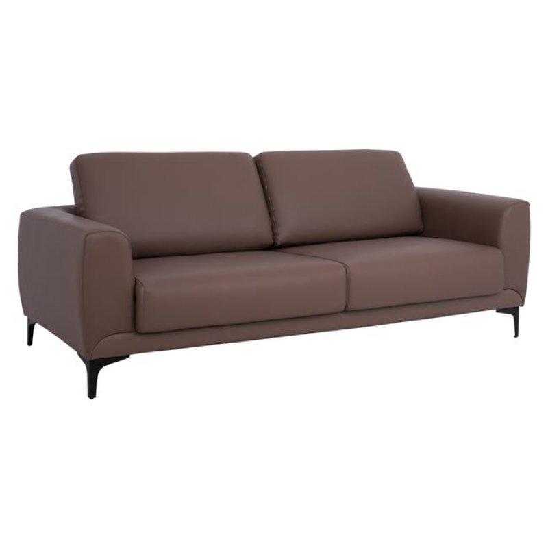 """Καναπές """"KENZIE"""" τριθέσιος από τεχνόδερμα σε καφέ-ταμπά χρώμα 190x81x81"""