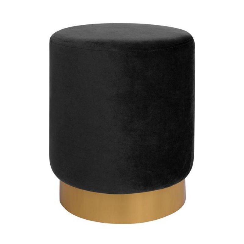 """Σκαμπώ """"LEVY """" βελούδινο σε χρώμα μαύρο με χρυσή βάση Φ35x43 Φ35x43"""