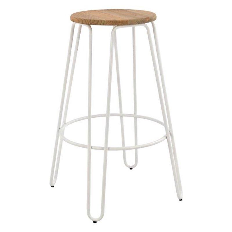 """Σκαμπώ μπαρ """"KELLY WOOD"""" μεταλλικό-ξύλινο σε λευκό χρώμα 57,5x57,5x76"""
