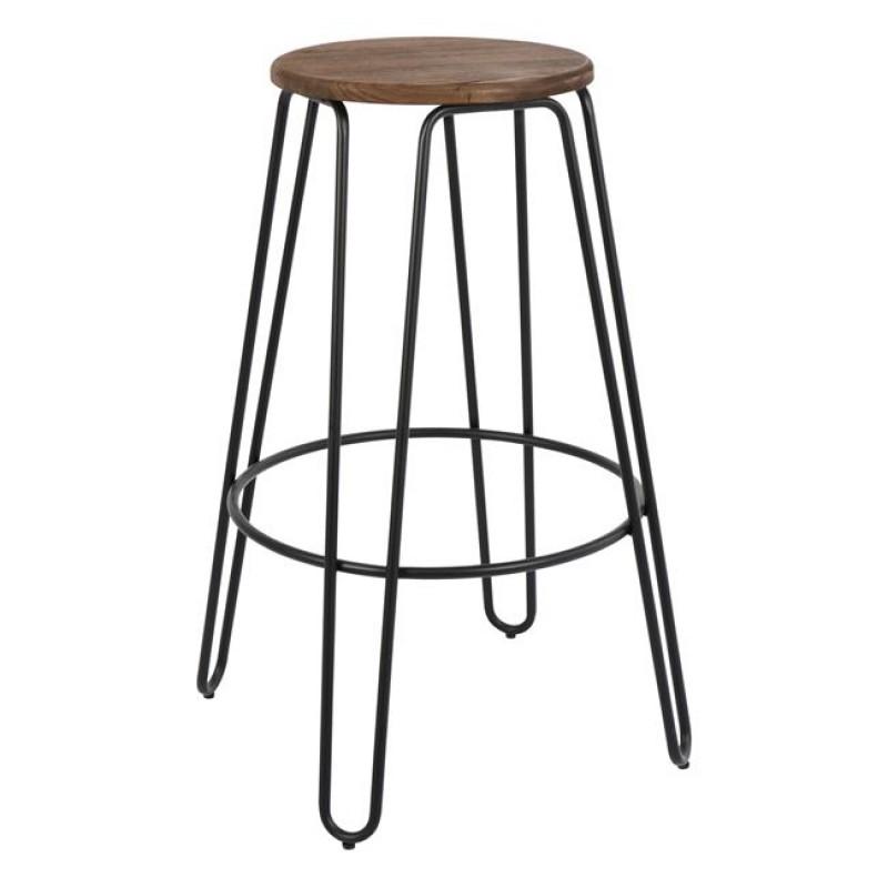 """Σκαμπώ μπαρ """"KELLY WOOD"""" μεταλλικό-ξύλινο σε χρώμα μαύρο 57,5x57,5x76"""