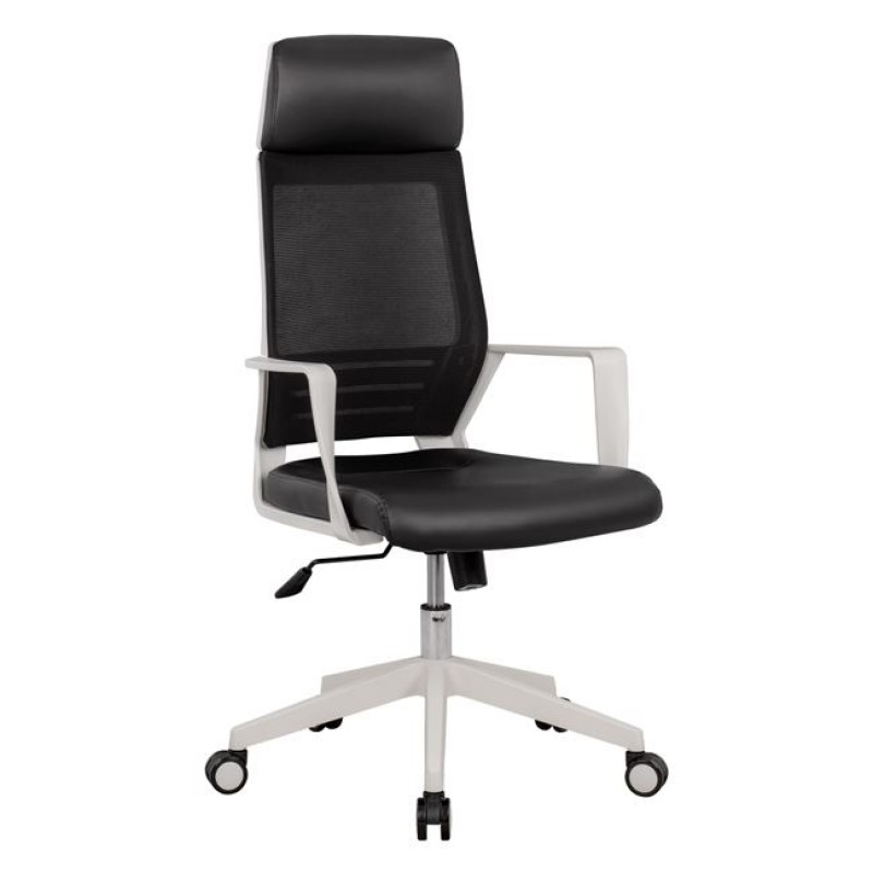 Πολυθρόνα γραφείου υφασμάτινη PU σε χρώμα μαύρo 62x60x124