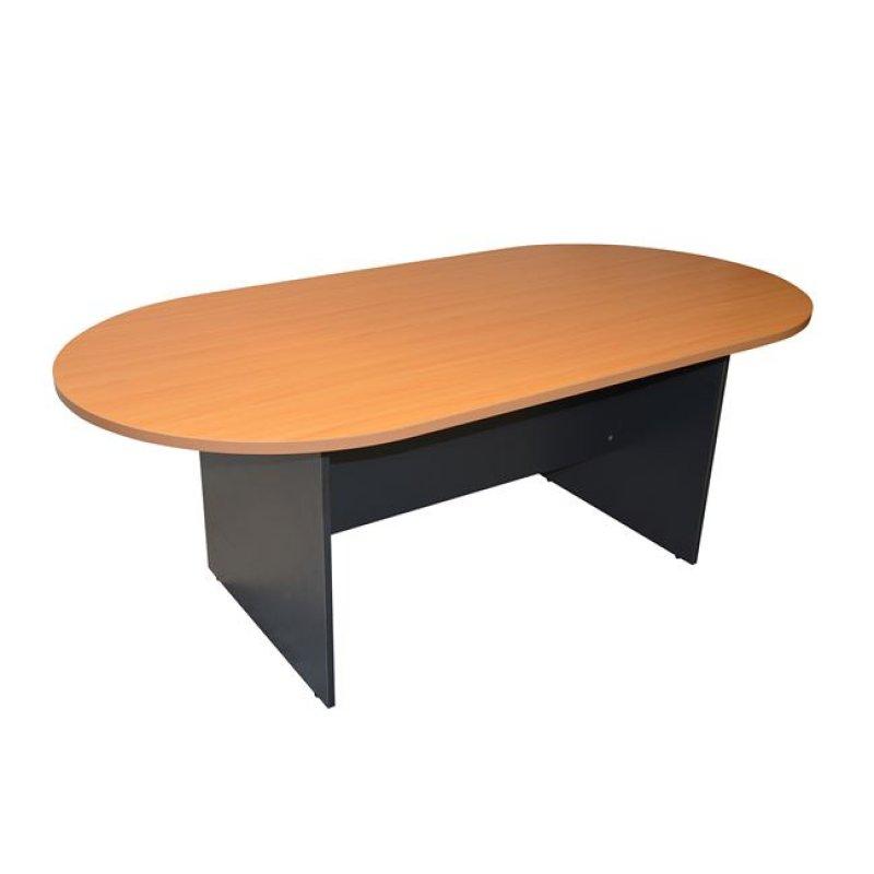 Τραπέζι συνεδρίου οβάλ σε χρώμα γκρι-οξιά 200x100x75