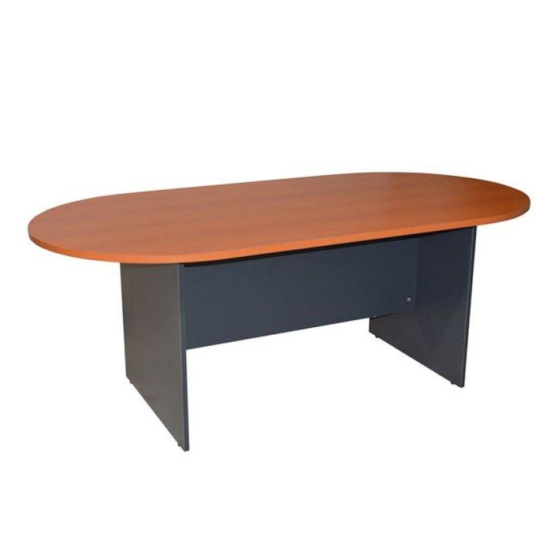 Τραπέζι συνεδρίου οβάλ σε χρώμα γκρι-κεράσι 200x100x75