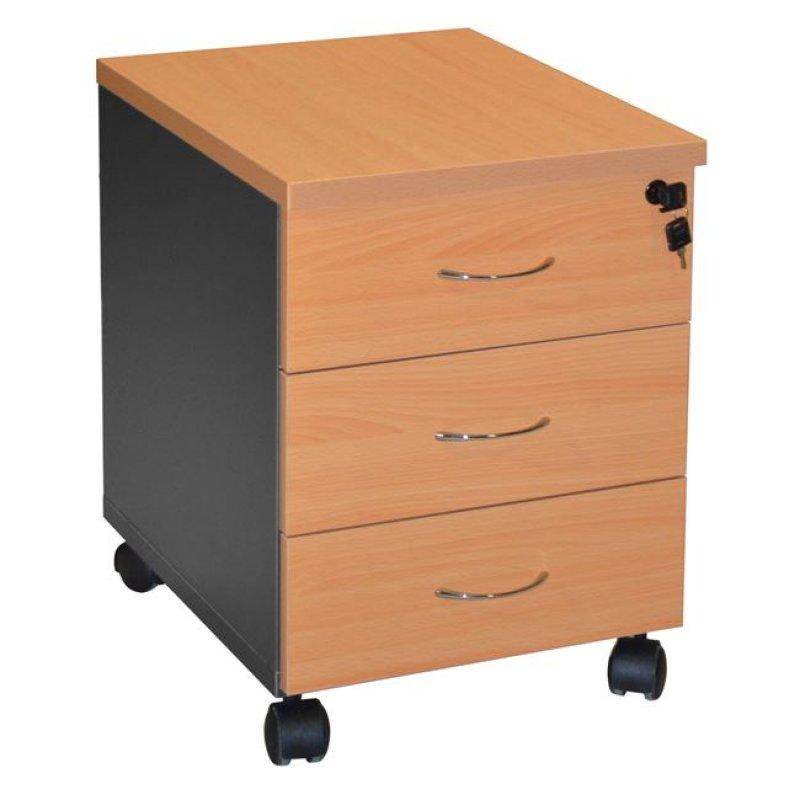 Συρταριέρα γραφείου σε χρώμα σκούρο γκρι-οξιάς 38x48x53
