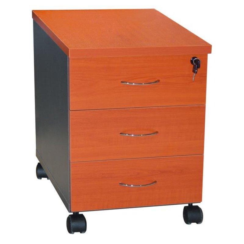 Συρταριέρα γραφείου σε χρώμα σκούρο γκρι-κερασί 38x48x53