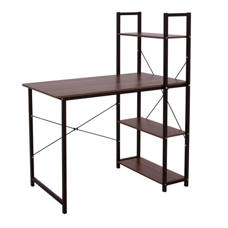 Γραφείο με βιβλιοθήκη σε μαύρο-καρυδί χρώμα 100x52,5x120