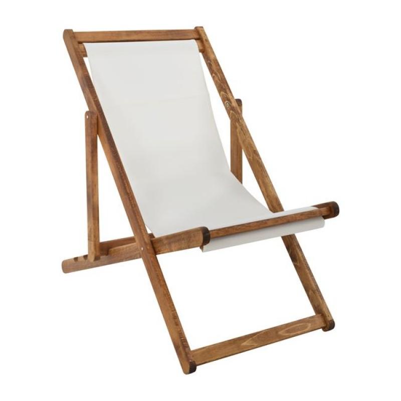 Σεζλονγκ ξύλινο textilene σε χρώμα λευκό/καφέ 60x96x91,5