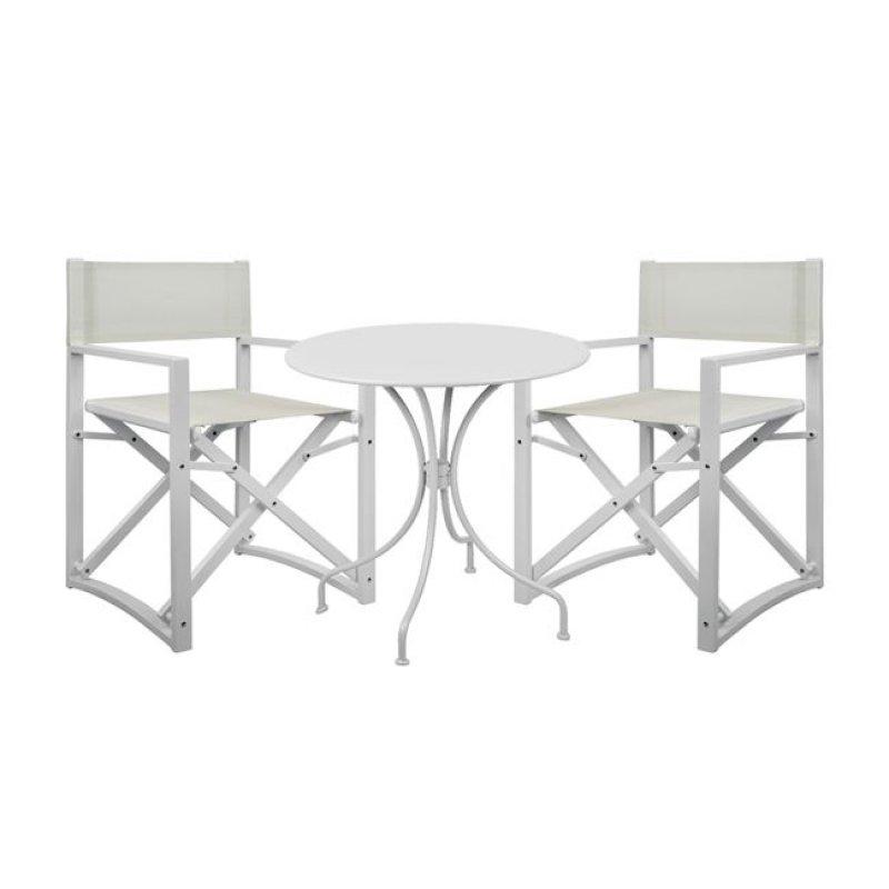 """Σετ τραπεζαρίας """"AMORE"""" 3 τμχ από αλουμίνιο σε χρώμα λευκό Φ70x72,5"""
