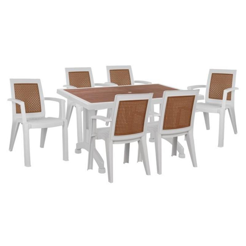 Σετ τραπεζαρίας 7 τμχ από πολυπροπυλένιο σε χρώμα λευκό/καφέ 140x80x74