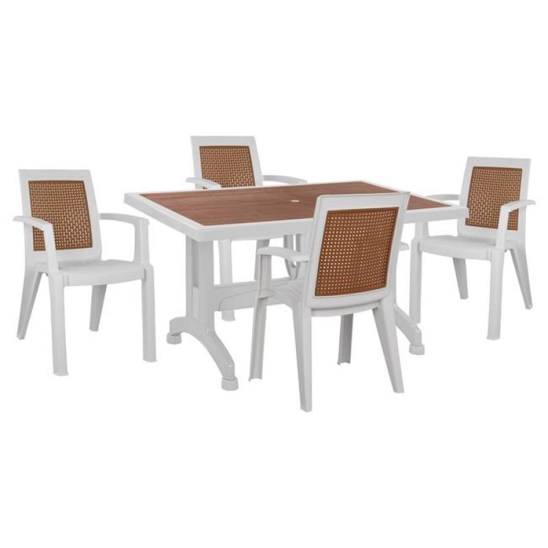Σετ τραπεζαρίας 5 τμχ από πολυπροπυλένιο σε χρώμα λευκό/καφέ 140x80x74