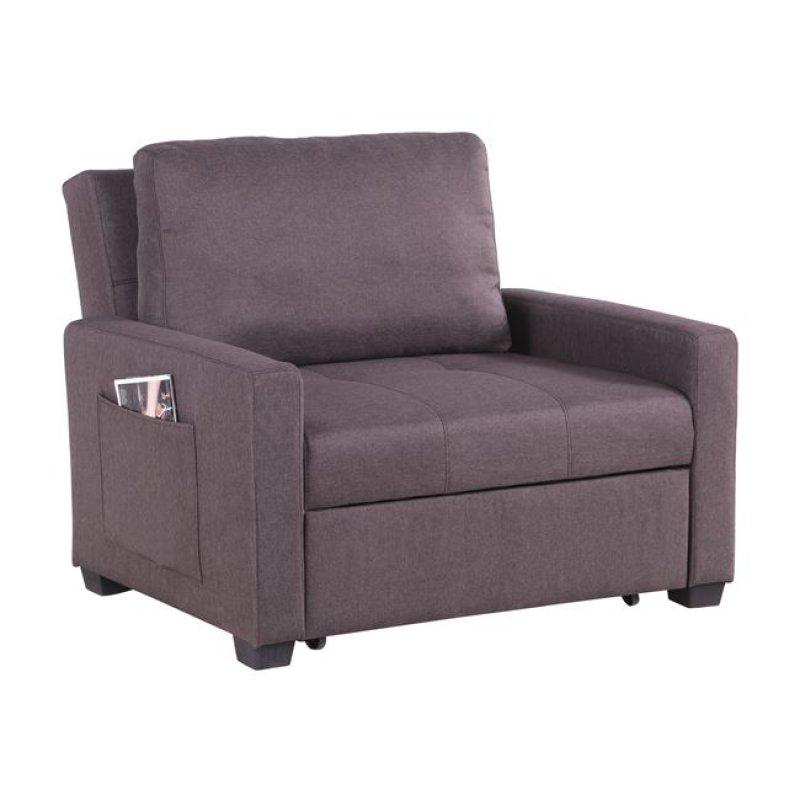 Πολυθρόνα κρεβάτι υφασμάτινη σε καφέ χρώμα 112x96x85