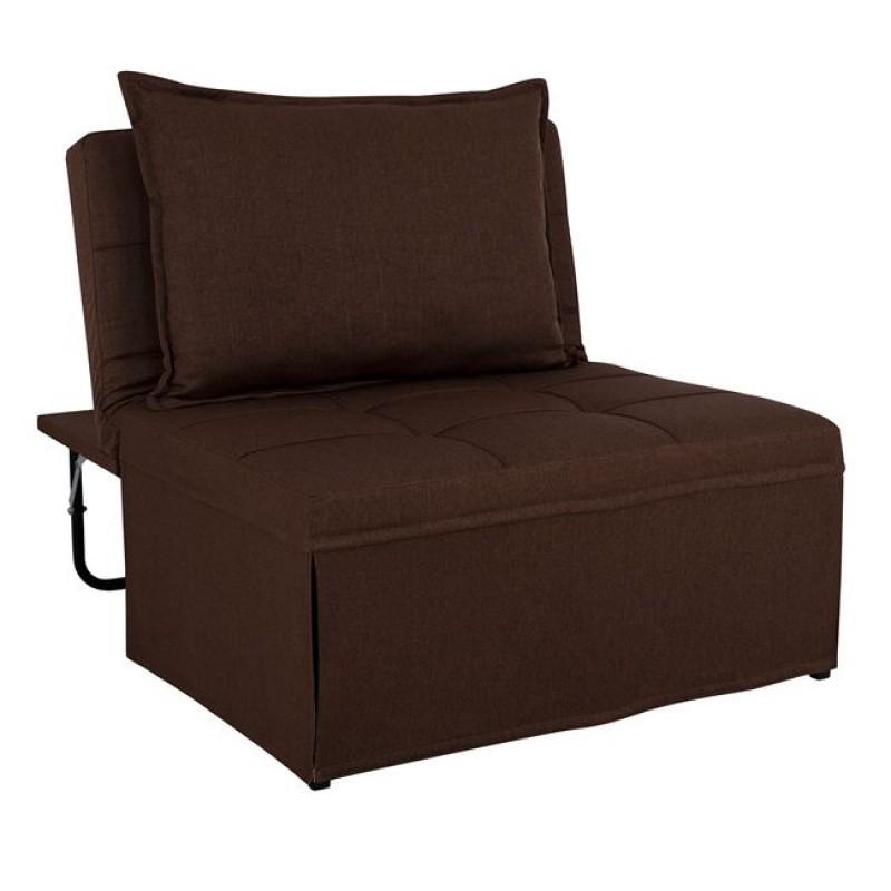 """Πολυθρόνα κρεβάτι σκαμπό """"TRANSFORMER"""" υφασμάτινη σε χρώμα καφέ 94x114x85"""